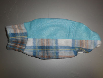 画像1: 白青チェック+水色(フリース・ノースリーブ)3号 (1)