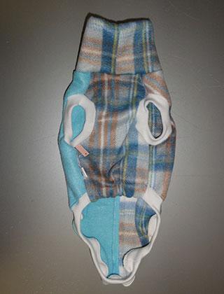 画像4: 白青チェック+水色(フリース・ノースリーブ)3号 (4)