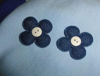 画像4: 水色+デニム花飾り付(綿)ノースリーブトレーナー2号 (4)
