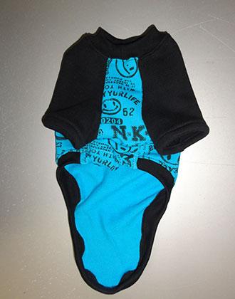 画像3: 水色スマイル×黒(綿裏起毛)(半袖)トレーナー4号 (3)