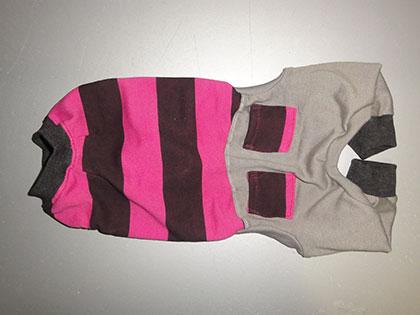 画像3: ピンク幅広ボーダー×グレー(綿ニット)nsa-S (3)