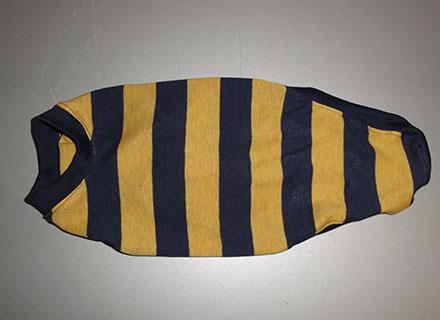 画像2: 紺黄ボーダー(綿ニット)Tシャツ5号 (2)