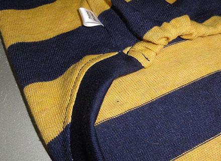画像4: 紺黄ボーダー(綿ニット)Tシャツ5号 (4)