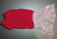 画像1: ピンクハート(綿ニット)+スカート付Tシャツ2号 (1)
