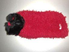 画像1: 赤(ボア)×黒フェイクファー・コート(SS〜Sサイズ) (1)