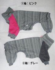 画像1: グレー(ジャガードニット)×袖(綿ニット)半袖短パン:nsa-S (1)