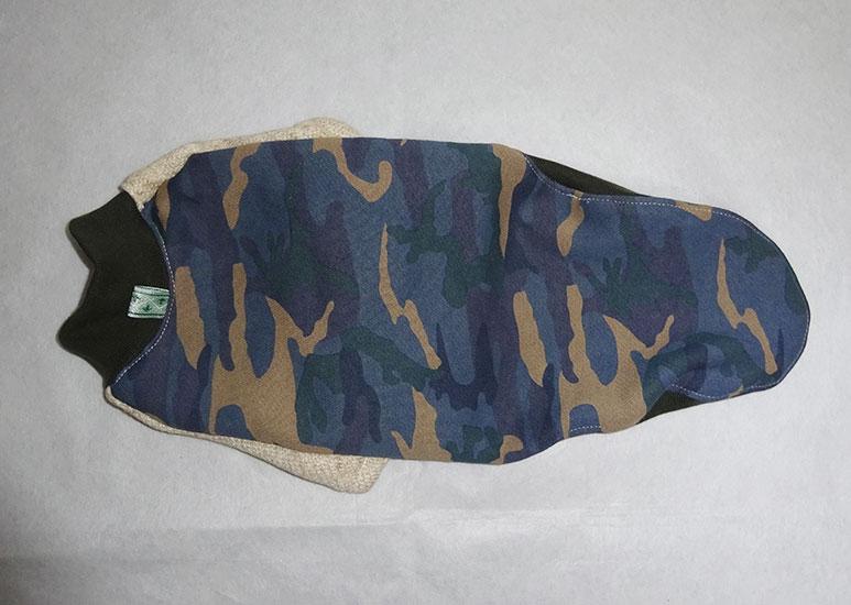 画像1: 青迷彩×ナチュラル(裏起毛綿ニット):半袖トレーナー2号 (1)