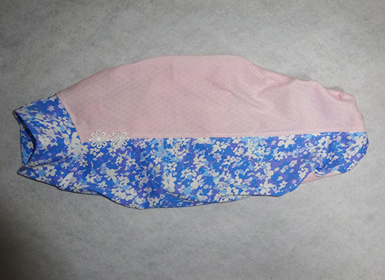 画像1: 水色花+ピンク(綿ニット)-Tシャツ5号 (1)