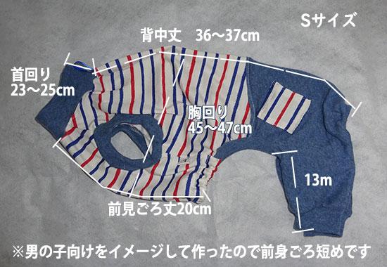 画像1: 白に青赤ボーダー(綿)×水色(綿混):nsa-S (1)
